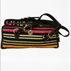The Sak striped colorful fun knit purse